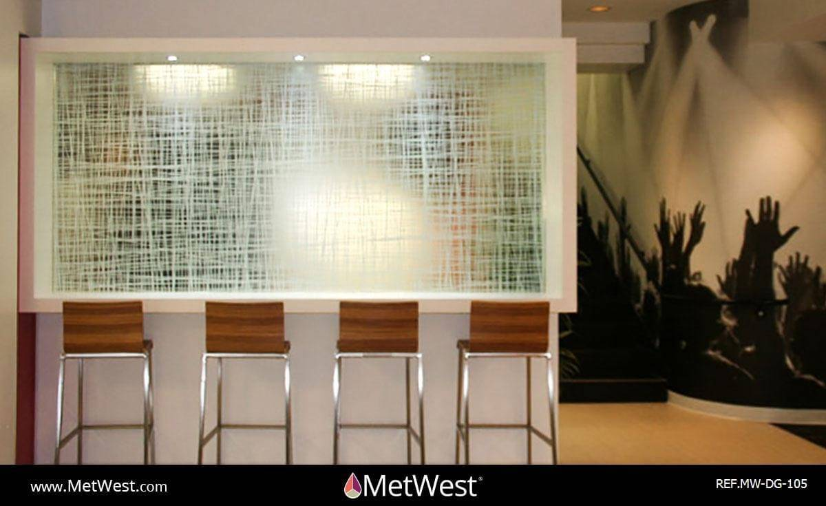 Decorative Glass Film DG-105 Material: Clear window film Location: Hollywood Project: Client: Live nation Application: custom printed nest pattern