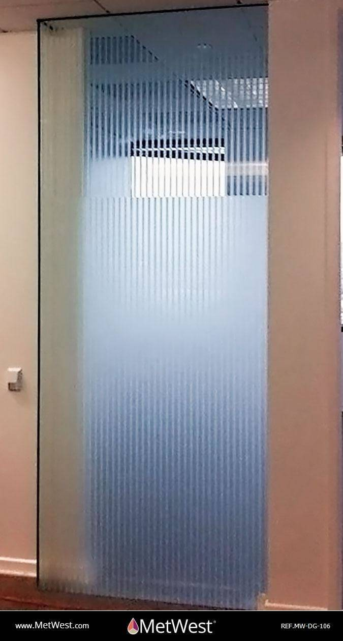 Decorative Glass Film DG-106 Material: dusted crystal Location: Project: Client: Application: custom cut pin stripe pattern on 1st surface, solid film band 2nd surface