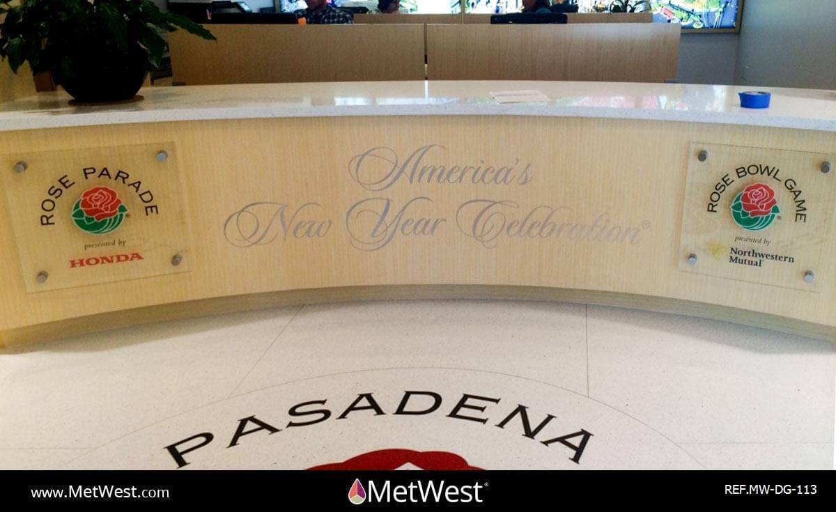 Decorative Glass Film DG-113 Material: Clear window film Location: Pasadena Project: Client: Rose Parade Application: custom printed graphics