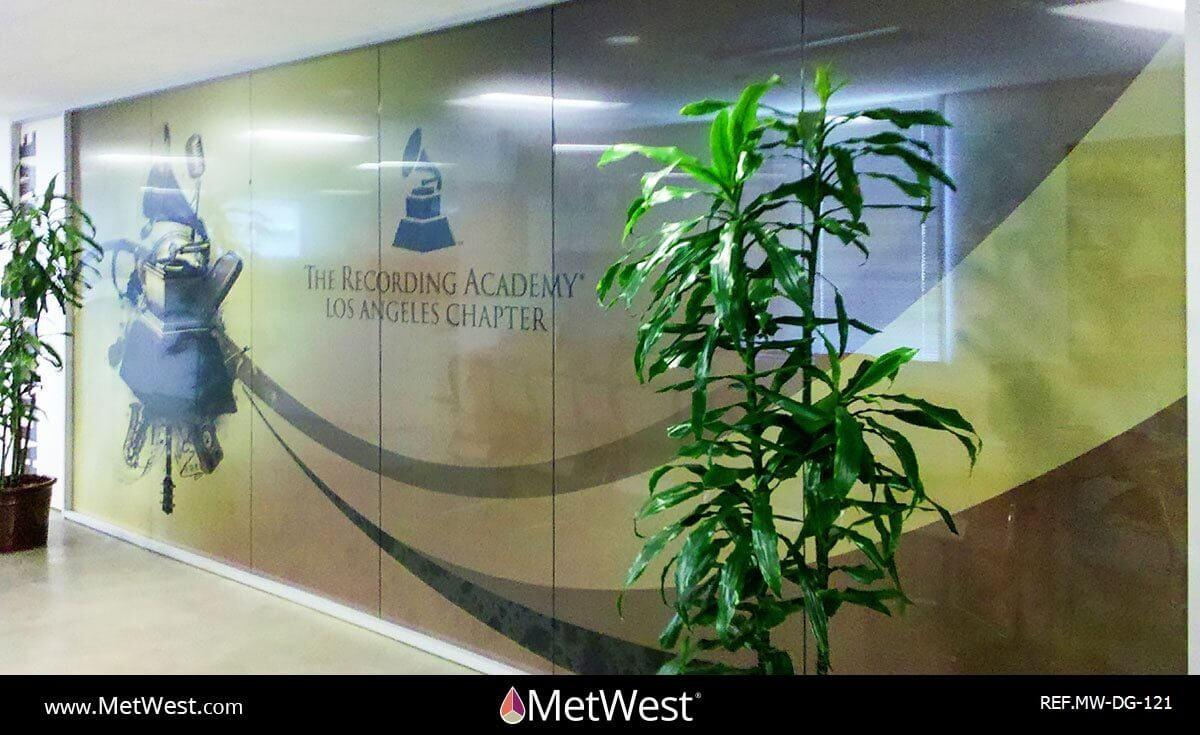 Decorative Glass Film DG-121 Material: perforate vinyl Location: Hollywood Project: Client: Recording Academy Application: custom printed graphics