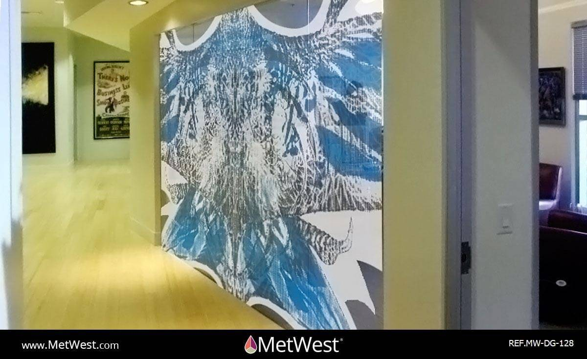Decorative Glass Film  DG-128 Material:  perforate vinyl Location:   Project:   Client:   Application:  printed graphics