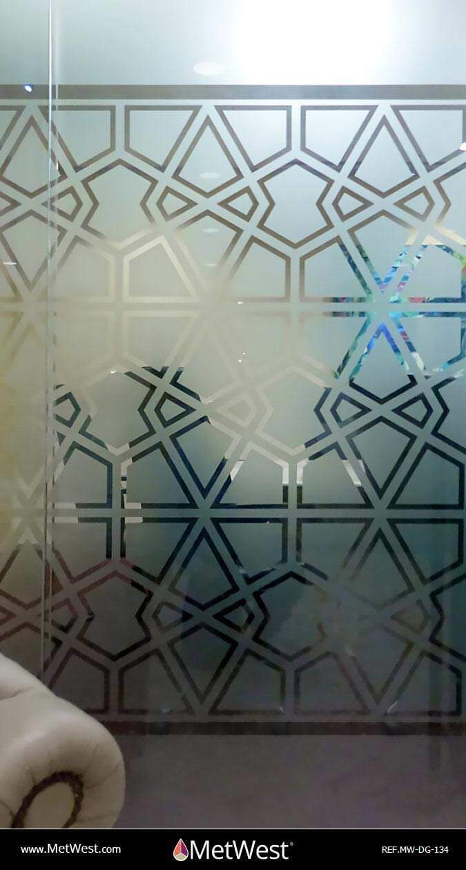 Decorative Glass Film  DG-134 Material:  Dusted crystal  Location:  Los Angeles Project:   Client:   Application:  Mashrabiya pattern cut on frosted window film