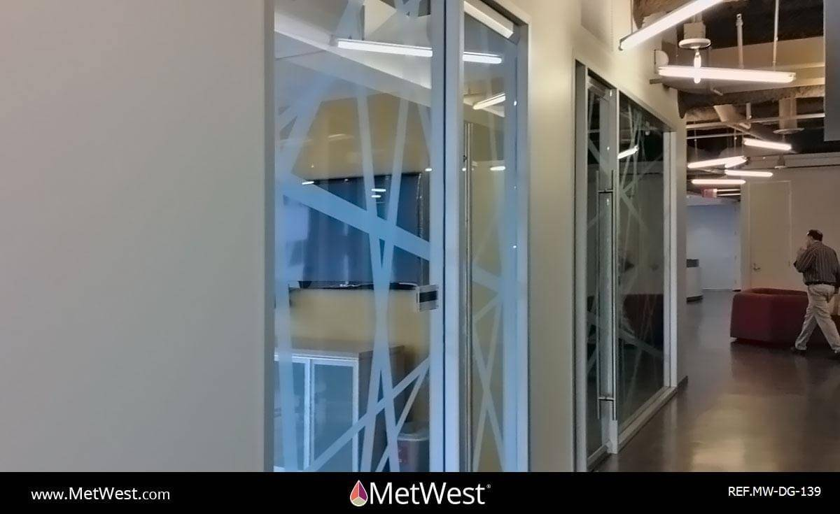 Decorative Glass Film  DG-139 Material:  Clear window film Location:  Boulder, Co Project:   Client:  RealD Application:  Custom white printed pattern