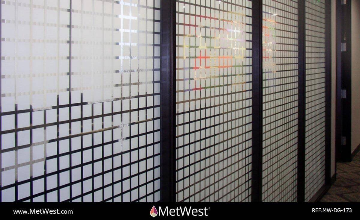 Decorative Glass Film DG-173 Material: clear film Location: Project: Client: Application: custom white printed squares