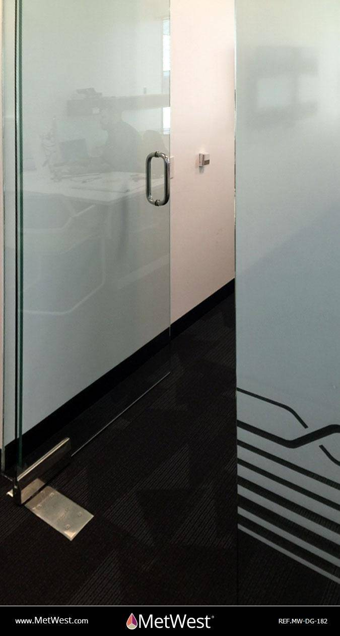 Decorative Glass Film  DG-182 Material:  clear film Location:  Irvine  Project:   Client:  Cylance Application:  Custom white printed pattern