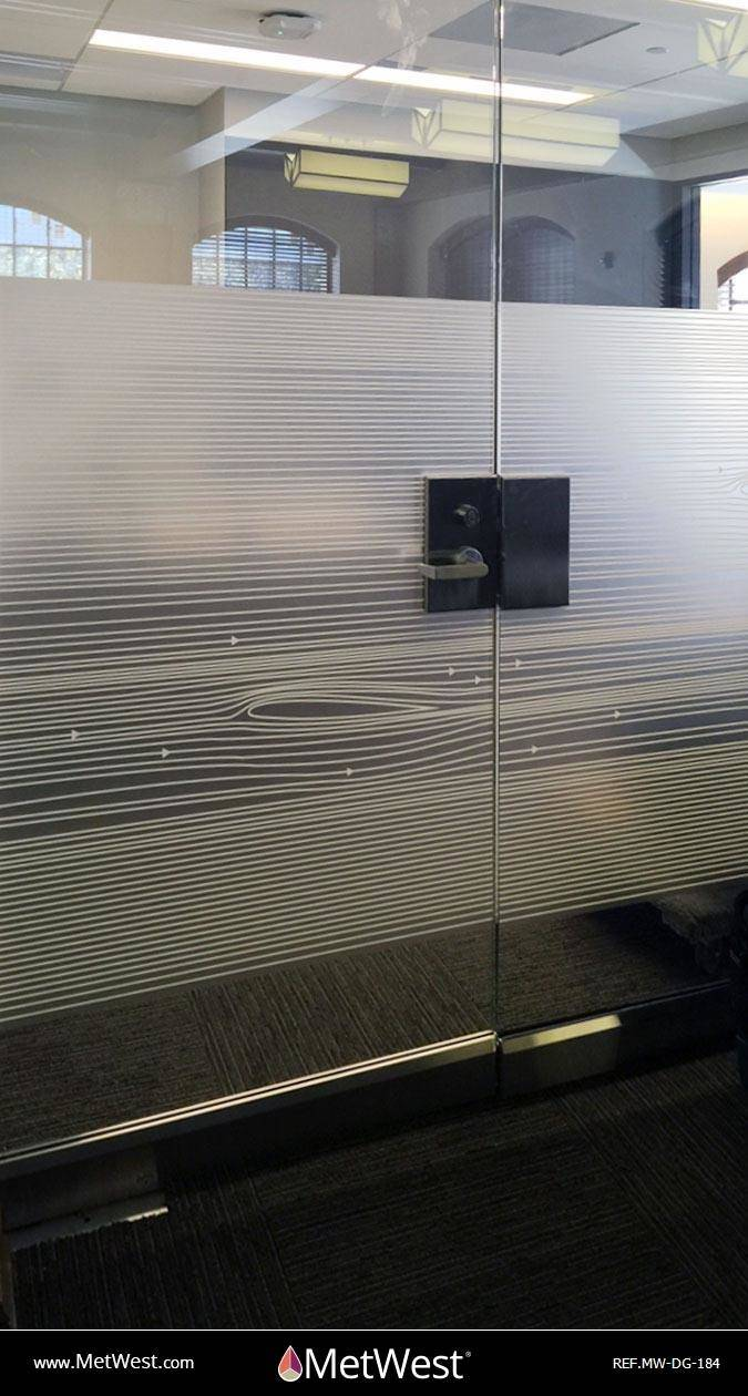 Decorative Glass Film  DG-184 Material:  Dusted Crystal Location:  Los Angeles Project:   Client:   Application:  Custom white printed pattern
