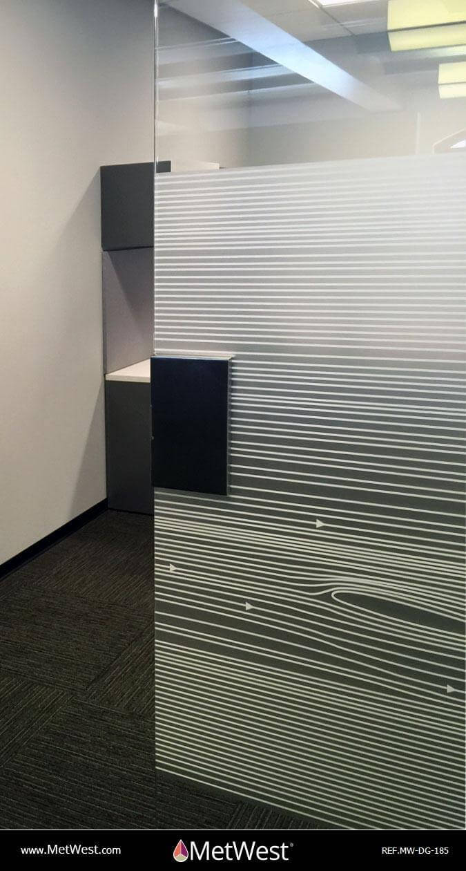 Decorative Glass Film DG-185 Material: Dusted Crystal Location: Los Angeles Project: Client: Application: Custom white printed pattern