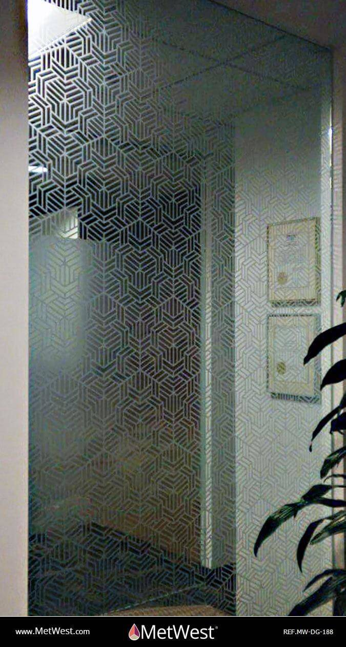 Decorative Glass Film  DG-188 Material:  Frosted crystal  Location:   Project:   Client:   Application:  Custom cut pattern on frosted window film