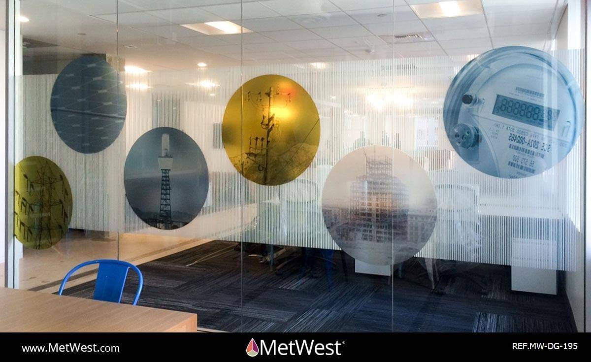 Decorative Glass Film  DG-195 Material:  3m Fasara Arpa and dusted crystal Location:  Los Angeles Project:  Break room Client:  Edison energy Application:  Decorative window film and custom printed images on dusted crystal