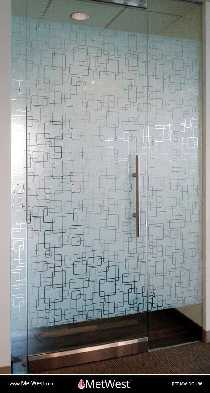 Decorative Glass Film  DG-196 Material:  Clear window film Location:   Project:   Client:   Application:  Custom white printed decorative film