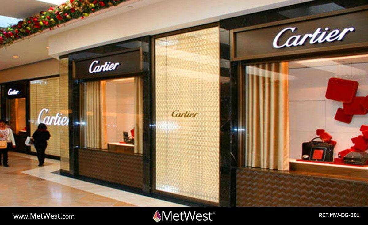 Decorative Glass Film  DG-201 Material:  Clear window film Location:  costa mesa Project:   Client:  Cartier Application:  custom printed pattern on clear window film