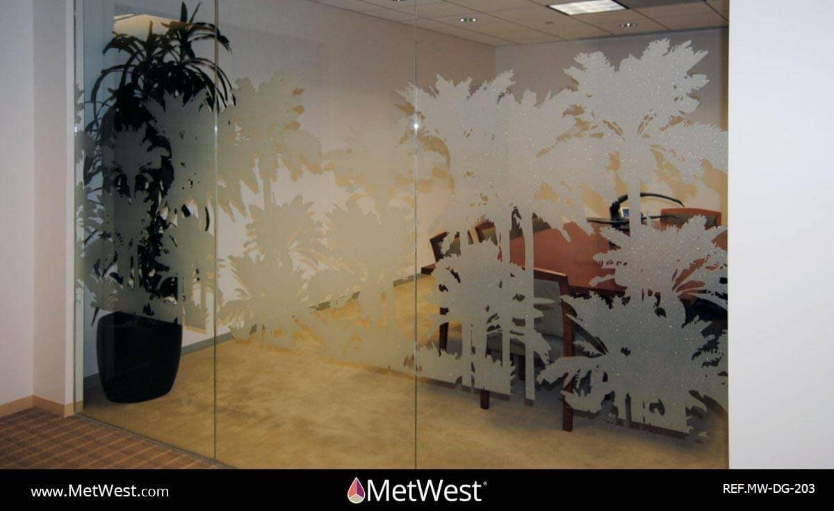 Decorative Glass Film DG-203 Material: Metro Frost Location: Los Angeles Project: Constelaltion Place Client: Carr Workplaces Application: custom decorative graphics cut on frosted film