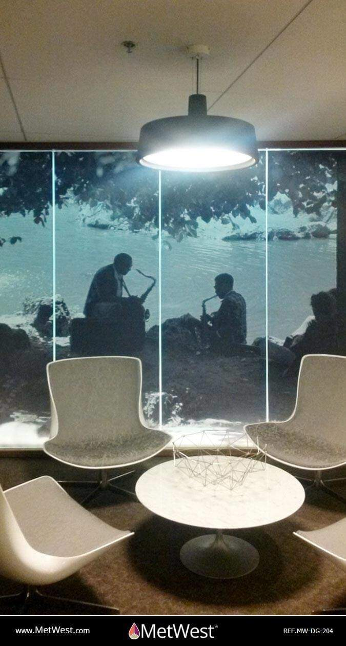 Decorative Glass Film  DG-204 Material:  blanca Location:  Hollywood  Project:   Client:  BMI Application:  custom printed pictures