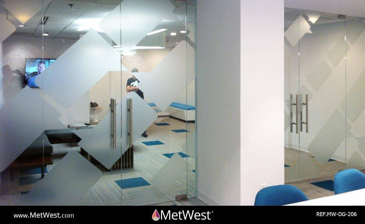 Decorative Glass Film  DG-206 Material:  Dused crystal Location:  Los Angeles Project:   Client:  Bravo TV Application:  custom cut logos