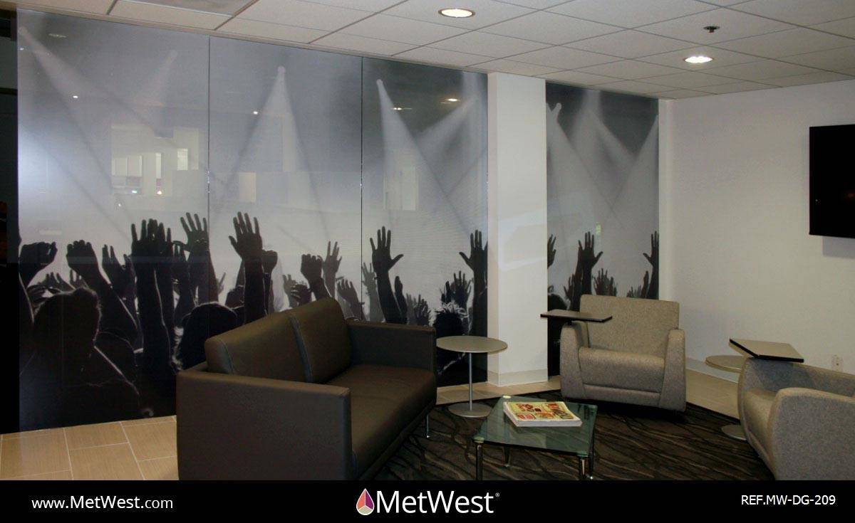Decorative Glass Film DG-209 Material: micro perforated vinyl Location: Hollywood Project: Client: Live nation Application: custom printed image