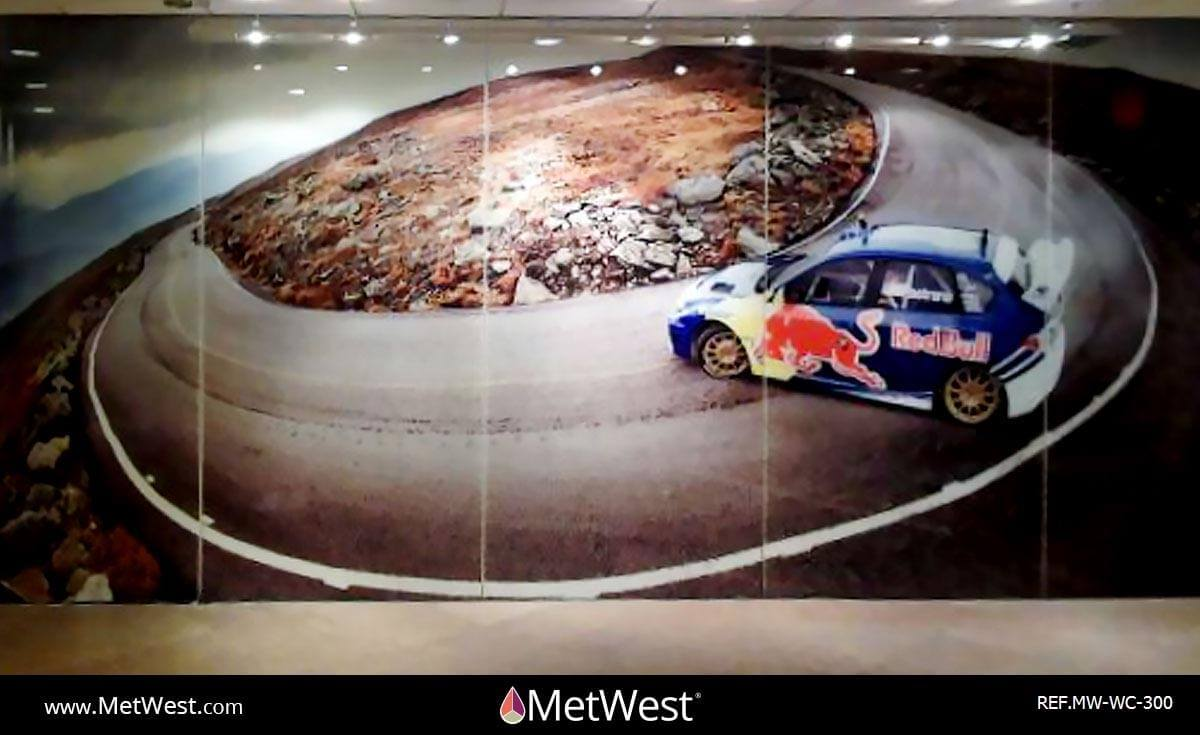 Wall Covering-300 printed film on glass Project: Red Bull