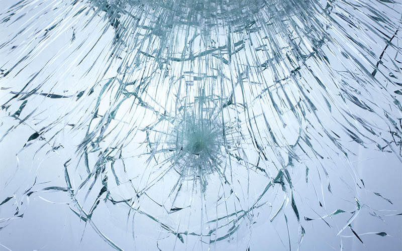 safety glass film for protection - shattered glass