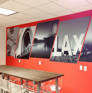 Image of branded logo wall covering