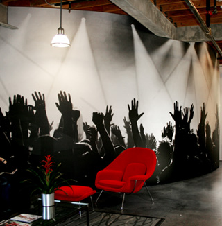 Image of 3D raising hands wall covering