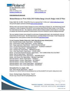 Roland businesses wow sgia 2013 golden image awards judges with 21 wins