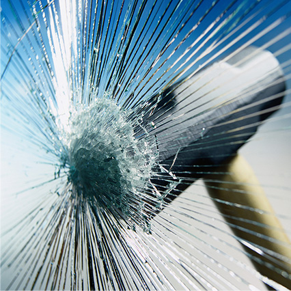 Image showing a glass hit by hammer